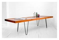Vintage Hairpin Wood Coffee Table - Mid Century