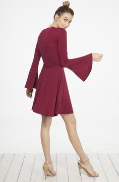 Faux Wrap me up for the Holidays Dress in Burgundy #bell-sleeve-dress #burgundy-faux-wrap-dress #burgundy-wrap-dress