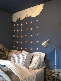 idée d'éclairage de la chambre enfant en guirlandes-étoiles
