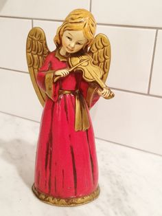 Vintage Paper Mache Angel Red Gold  Angel Violin Made by Comforte