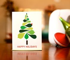 Mod Christmas Tree - Set of 10 Holiday Cards on 100% Recycled Paper. $16.50, via Etsy.