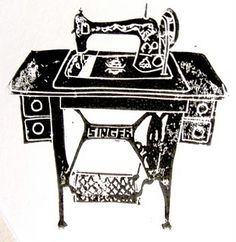 Handmade Linocut print of Singer pedal sewing machine