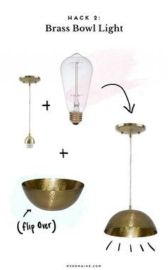 Difficulty: Medium The Hack: Looking for a statement pendant light but can't seem to find the right shade? This two-step hack allows you to transform a decorative bowl into a gorgeous light...