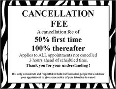 Missed Appointment And Cancellation Policy Sign  Door  Wall