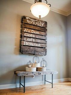 Do you have unused wood pallets? You can use it as your DIY Pallet wall decor. With a little creativity, you can turn used wood pallets into a variety of neat h Pallet Furniture Plans, Pallet Furniture Designs, Pallet Designs, Furniture Ideas, Bench Designs, Wicker Furniture, Modern Furniture, Primitive Furniture, Furniture Logo