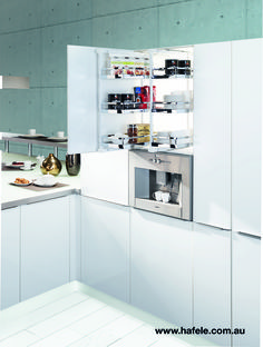 PANTRY pull-out: fitted above a built-in appliance, provides well-organised, efficient  storage. Two pullouts, one theme. To the left, the coffee, sugar and milk, to the right the cups – or vice versa. With this high cabinet system by Kesseböhmer, theme cabinets can be newly created and optimally equipped to suit special individual requirements. High cabinet or base cabinet, it makes no difference.