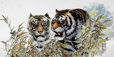 (North Korea) Two Tigers by Gang Hak cheol (1974-  ). Korean brush watercolor.