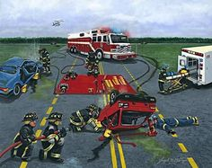 "This is an image from an Acrylic Painting titled, ""Rescued and is available in a limited edition print. Firefighter Images, Firefighter Training, Rescue Vehicles, Firefighting, Fire Trucks, Ems, Monster Trucks, Photographs, Pictures"