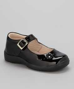 Take a look at this Black Flower Mary Jane by Little Dominique on #zulily today!