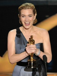 """Actress Kate Winslet speaks on stage after winning the Best Actress award for """"The Reader"""" during the Annual Academy Awards held at Kodak Theatre on February 2009 in Los Angeles, California. Kate Winslet Oscar, George Peppard, Blake Edwards, Academy Award Winners, Academy Awards, Emma Thompson, Meryl Streep, Kelly Rowland, Hollywood Stars"""