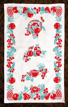 Vintage 1940's Kitchen Towel Red and by LovelyLinensandMore
