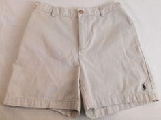 RALPH LAUREN SPORT Womens Shorts Pony Logo Size 2 Flat Front Khaki Cotton #LaurenRalphLauren #Khak #womensshorts #shorts