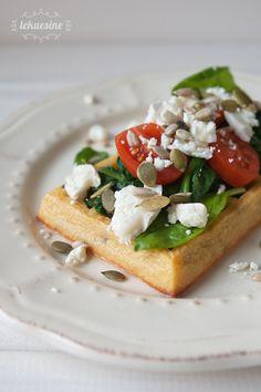Lekuesine: Gofres salados de espinacas y queso de cabra con molde Lékué