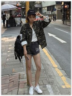 Tiny Times - Camouflage Buttoned Jacket US$15.96