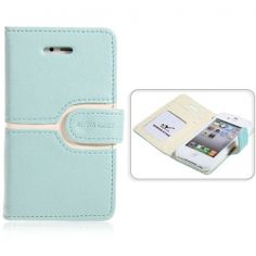 Cool Wallet Style Leather Case With Magnetic Flip for iPhone 4 4S (Blue)