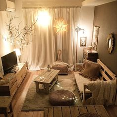 Whole room / natural / IKEA / living alone / white interior / Bohemian . and other interior Small Room Interior, Small Room Decor, Room Decor Bedroom, Home Room Design, House Design, Interior Decorating, Interior Design, Aesthetic Rooms, Home And Deco