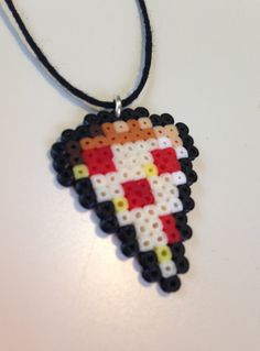 Pepperoni Pizza Hama bead charm by PlasticSkillet
