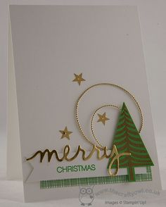 handmade card from The Crafty Owl ... Festival Of Trees in Green and Gold ... Christmas montage with lots of white space ... luv the mod look ... Stampin' Up!
