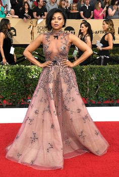 Taraji P. Henson slayed on the SAG Awards red carpet, ready for business in the most regal of naked dresses.