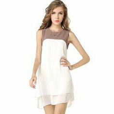 O Shape Neckline Color Sleeveless White+pink | pinknee.com