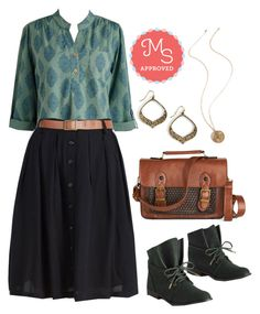 """""""Whole Java Love Bootie in Deep Teal"""" by modcloth ❤ liked on Polyvore featuring Mata Traders, Fall, outfit, modcloth and separates"""