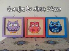 Trio quadros corujas coloridas 1