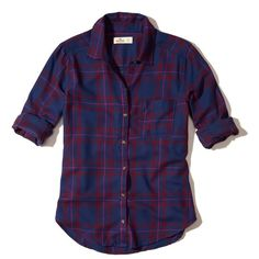 Hollister Button-Front Flannel Shirt ($40) ❤ liked on Polyvore featuring tops, blue plaid, flannel shirts, plaid flannel shirt, tartan plaid shirt, button front top and button front shirt