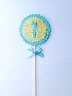 Large-blue-gold-glitter-number-one-cake-topper-table-numbers-Can-be-personalied