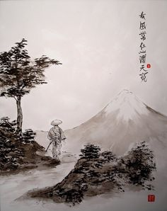 """Képtalálat a következőre: """"japanese chinese zen painting landscape"""" Chinese Picture, Chinese Artwork, Chinese Painting, Sumi E Painting, Japan Painting, Evans Art, Art Asiatique, Tinta China, Art Japonais"""
