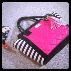 BETSEY JOHNSON Satchel **NWT** This is BETSEY JOHNSON collection with pink heat hot pink hearts. Playful pink & white pom pom on a gold chain ringed on XOX Betsey gold heart. Zip closure top, inside has zip pocket one side and phone pockets the others. Left and right balck & white zebra pattern.  Retail $98 not including tax  I ACCEPT ALL OFFER. PLEASE KINDLY USE OFFER BUTTON. THANK YOU. Betsey Johnson Bags Satchels