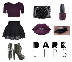 """""""Dark Lips"""" by colleen-culp ❤ liked on Polyvore featuring beauty, Lime Crime, WearAll, Luichiny, Chanel and OPI"""