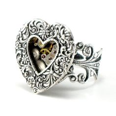 "Steampunk Jewelry - ""Heart Gears"" sterling silver plated open heart ring with embedded clockwork by Ghostlove"
