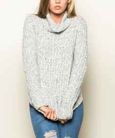 Another great find on #zulily! White & Black Melange Turtleneck Sweater by Hem & Thread #zulilyfinds