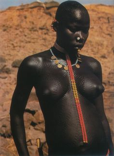 Nubian Warrior Women of Kau, also known as South East Nuba. Nuba mountains, via Leni RieFenstahl, 1975