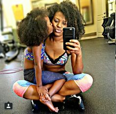 Mommy and daughter love How cute ?? Yoga selfie!!!!