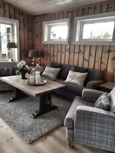 3 Living Rooms, Living Spaces, Chalet Interior, Interior Design, Mountain Cottage, Cabin Homes, Wood Colors, Sweet Home, Knotty Pine