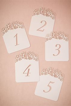 Hilltop Table Number Cards (5) from BHLDN use with paper punch and wood numbers!