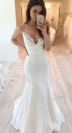Elegant Spaghetti Straps Long Mermaid Wedding Dresses With Lace, Bridal Gown . - Elegant Spaghetti Straps Long Mermaid Wedding Dresses With Lace, Bridal Gowns, – Wedding d - Spaghetti Strap Wedding Dress, Wedding Dresses With Straps, Long Wedding Dresses, Spaghetti Straps, Wedding Gowns, Short Girl Wedding Dress, Backless Wedding, Modest Wedding, Wedding Dress Simple