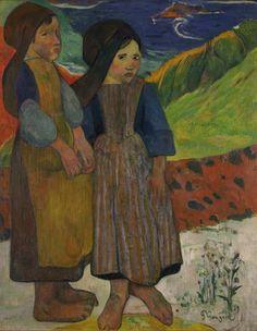 Deux fillettes bretonnes près de la mer, par Paul Gauguin
