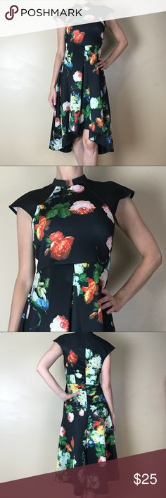 Amelia scuba high low cap sleeve dress Amelia floral scuba cap sleeve high low dress. Great seam detail. Some pulling on the side from where my handbag hit it as shown in picture. Amelia Dresses