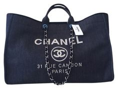 Chanel Deauvelle Tote Xl Size Weekender Beach Classic Gst Boy Denim Travel Bag.