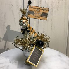 Mizzou graduation OR High school graduation and heading to Mizzou! Convo me if your looking for another school or mascot and I can check my stock if coordinating items are available at this time! Sports Banquet Centerpieces, Missouri Tigers, Cursed Child Book, Floral Design, High School, Graduation, Vintage Items, Handmade Gifts, Check