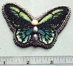 beaded butterfly | convertible brooch necklace beadwork dimensions 2 1 2 x 2