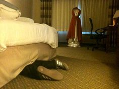 Hotel prank for housekeeping. I would crap my pants if I see this while working. lol