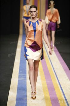 Silk featuring prominently on the catwalk mixed with contemporary stripes and geometric prints
