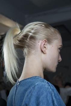 'Scouse Geisha' with a loosely sculpted pony tail by Eugene Souleiman for @josephfashion #SS15 #lfw #Josephlfw