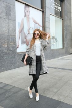 Oversized Wool-Blend Houndstooth Coat - Outer - Genuine Korean style fashion from Korea