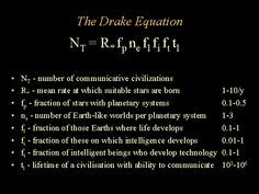 The Drake Equation   We are not alone.