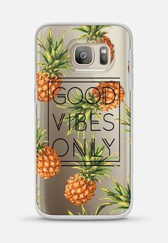 Good Vibes Only // Tropical Pineapples Transparent Galaxy S7 case by Samantha Ranlet | Casetify