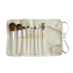 Achieve a flawless finish on the go, with this handy brush set. Simply unroll to reveal, slim yet roomy pockets organized with eight of your -soon to be favorite- mineral makeup brushes for face, eyes, and lips.  Vegan + Cruelty-Free, Orglamix - Eco Bamboo 8-Piece Makeup Brush Set